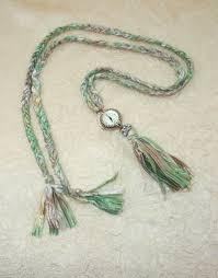 womens pendant watch braided yarn tassel necklace in mint green