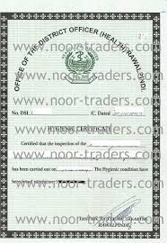 Hygienic Certificate From District Officer Health Rawalpindi