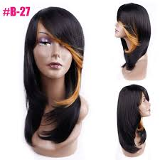 Amazoncom Medium Length Straight Synthetic Wig For Women Natural