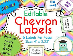 Avery 5164 Labels Chevron Labels Editable Classroom Notebook Folder Pastels Avery 5164 8164