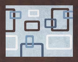 collection in geometric bath rug modern geometric rug blue brown soft accent floor area or bath rug