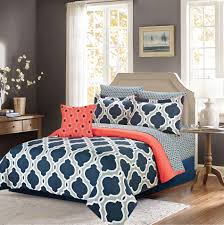 navy blue queen comforter. Perfect Blue Ellen Westbury King Comforter Bedding Set With Sheets Navy Blue And Grey  Quatrefoil 8 Pc Bed In A Bag For Queen F