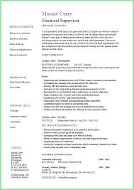 Electrical Engineering Resume Format Pdf Electrician For Sample