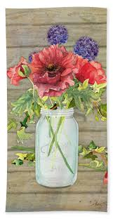 Rustic Country Red Poppy w Alium n Ivy in a Mason Jar Bouquet on Wooden  Fence Bath Towel for Sale by Audrey Jeanne Roberts