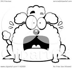 Cartoon Clipart Of A Black And White Chubby Scared Poodle - Vector ...