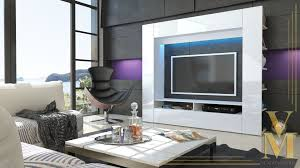 White Gloss Furniture For Living Room Details About Wall Unit Tv Stand Living Room Furniture Olli White