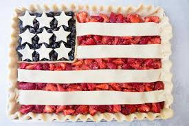 american flag pie in a sheet pan before baking