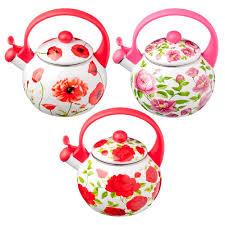 """<b>Чайник эмалированный со свистком</b> 2,2л """"Цветы"""", 3 дизайна (ПО ..."""