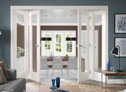 white interior folding doors