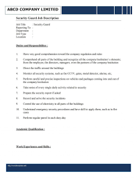 Security Guard Job Resume Descriptionample Unarmed For Template