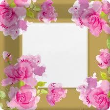 Pink Flower Paper Plates Rose Paper Plates Rose Bridal Shower Theme Rose Patterned Paper