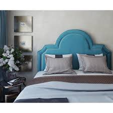 Laylah Queen Headboard in Sea Blue Velvet w/ Nailhead Trim