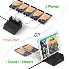 Extension Lead with USB <b>2 Way</b> Electric Power Strip 5 USB Plug ...