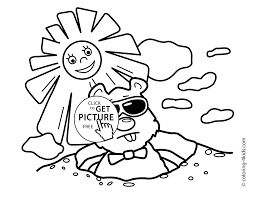Small Picture Groundhog Day coloring pages for kids sunny 2 february printable free