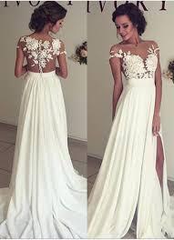 2017 summer chiffon wedding dresses lace top short sleeves side