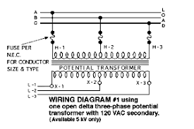 bfb ea eacca gif n  typical wiring diagrams for three phase potential transformer situations