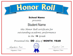 Certificate Of Honor Template Honor Roll Certificate Template
