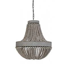 old looking rustic beaded pendant light with grey color making impression of dark dusty room