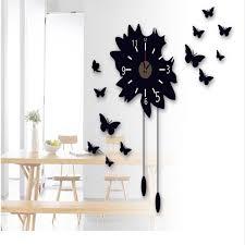 elegant removable modern creative black mirror 3d diy butterfly flower sticker wall clock office decor aliexpresscom buy office decoration diy wall