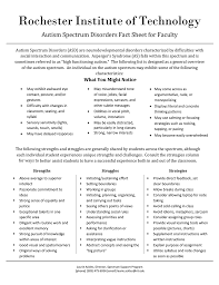 Autism Spectrum Disorders Fact Sheet For Faculty