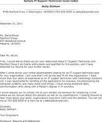 Cover Letter It Support Technician Sample It Technician Cover Letter