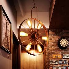 saralin 6 light rustic wagon wheel chandelier