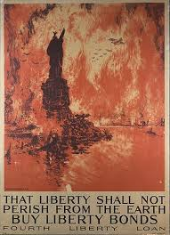 joseph pennell s 1918 ic liberty bond poster calls up the pictorial image of a ed new york city totally engulfed in a firestorm