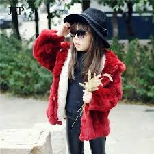 Kids fur coat 100% Real rabbit Jacket Children Girls Hooded Rex Rabbit Fur Coat Clothing Outwear