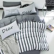 100 cotton bedding set simple stripe soft bed linings duvet cover twin king queen bed cover flat sheet pillowcases home textile black white duvet cover