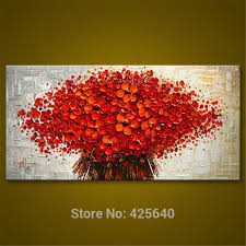 Painting Canvas For Living Room 2017 Wall Painting Flower Hand Painted Palette Knife 3d Texture
