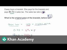 7 5 Sales Tax Chart Percent Word Problems Tax And Discount Video Khan Academy