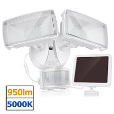 solla solar led security light 950lm outdoor motion sensor light 5000k ip65 waterproof adjule head flood light with 2 modes automatic and permanent