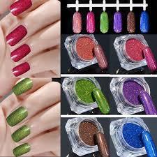 6 Colors Holo Glitter Laser Powder Kit Nail Art Gorgeous Pigment ...