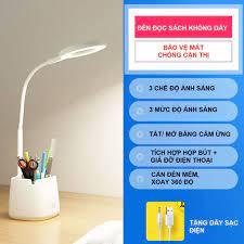 Đèn Bàn Học Đọc Sách LED Chống Cận 03 Chế Độ Ánh Sáng Vàng Bảo Vệ Mắt Có  Hộp Bút Và Giá Để Điện Thoại - Đèn bàn Nhãn hàng No brand