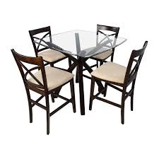 53 off counter height glass and wood table with four counter height table and chairs canada