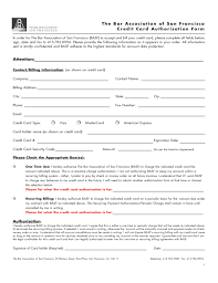 Credit Card Authorization Form - San Francisco Free Download