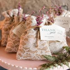 Burlap and Lace Wedding Favor Bags