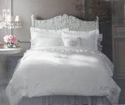 simply shabby chic white silver gray embroidered king duvet comforter cover 3 pc set