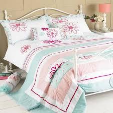 riva home harriet fl embroidery duvet cover set duck egg blue pink super king linens limited