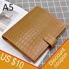 100 genuine leather binder rings notebook a5 size agenda organizer cowhide diary journal sketchbook planner with money pocket