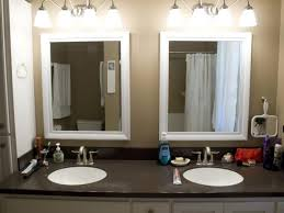 bathroom mirrors and lighting ideas. Bathroom: White Framed Double Bathroom Vanity Mirror With Lights - And Lighting Ideas Mirrors R
