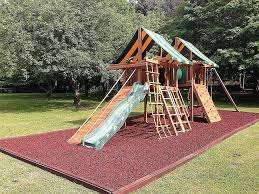 custom swingset landscaping ideas new swing set with red rubber mulch playgrounds sets richmond va