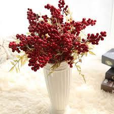 <b>1pc Christmas</b> Red Artificial Fruit <b>Berries</b> Beans Flowers Home ...