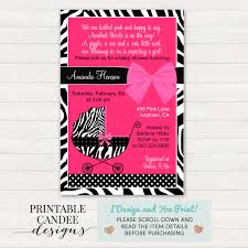 My Heart Is A House Whitneyu0027s Baby Shower Pink Zebra Princess Pink Zebra Baby Shower Invitations