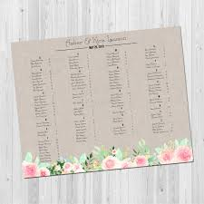 Rustic Wedding Seating Chart Floral Seating Chart