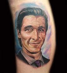 Patrick Bateman Christian bale portrait tattoo. American psycho.