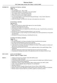 Functional Tester Resume Samples Velvet Jobs