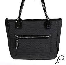 Coach 25051 Poppy Signature C Oxford Tote Bag Purse Handbag Black Patent    eBay