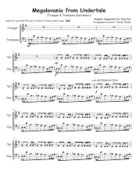 megalovania trumpet sheet music megalovania from undertale trombone trumpet duet sheet music