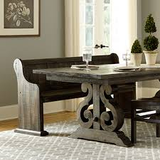 weathered wood dining table. Magnussen Dining Room Furniture Inspiration Ideas Decor Bellamy Wood Bench Deepweatheredpine Magnussenhome Zm Weathered Table